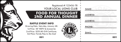 Lions Club International Face Raffle Ticket