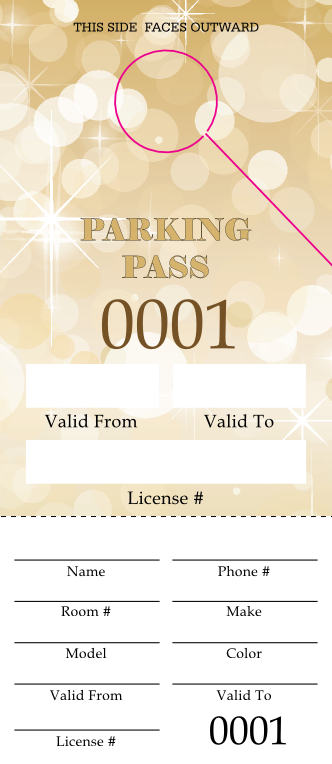 Gold Glitter Parking Permit