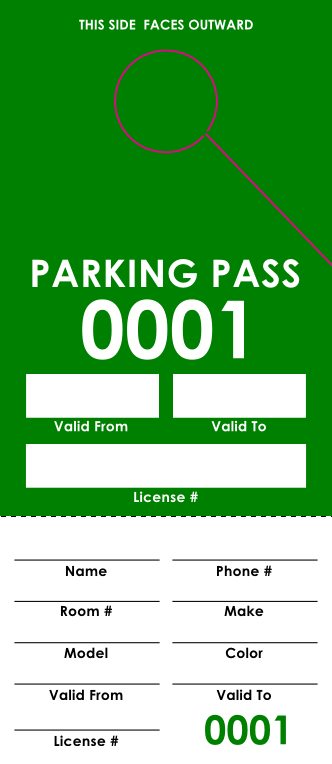 Green Parking Pass (100 pack)