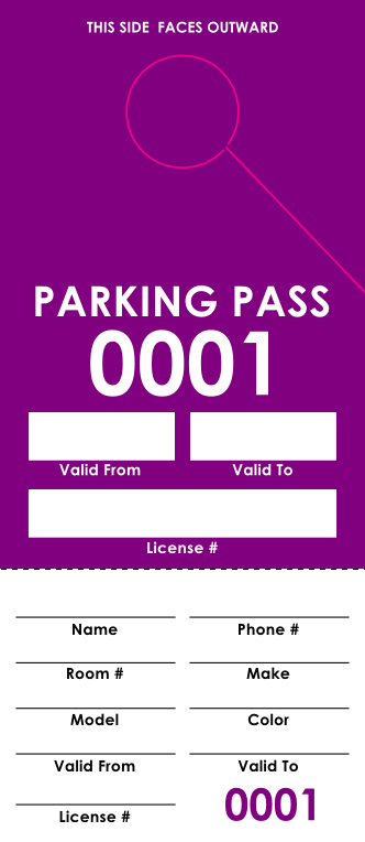 Purple Parking Pass (100 pack)