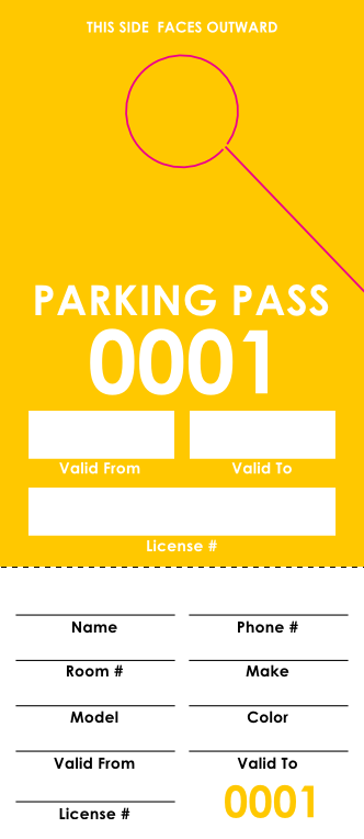 Yellow Parking Pass (100 pack)
