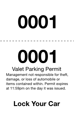 Basic 2-Part Valet Ticket