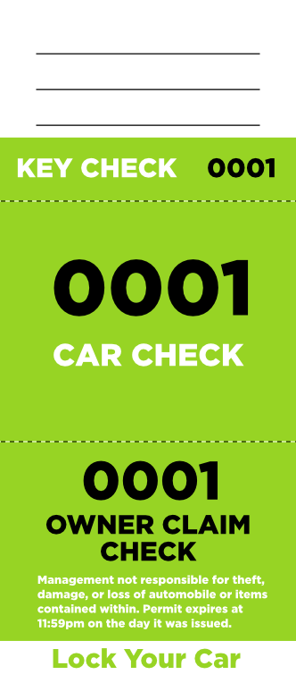Lime 3-Part Valet Ticket