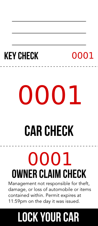 Red Number 3-Part Valet Ticket