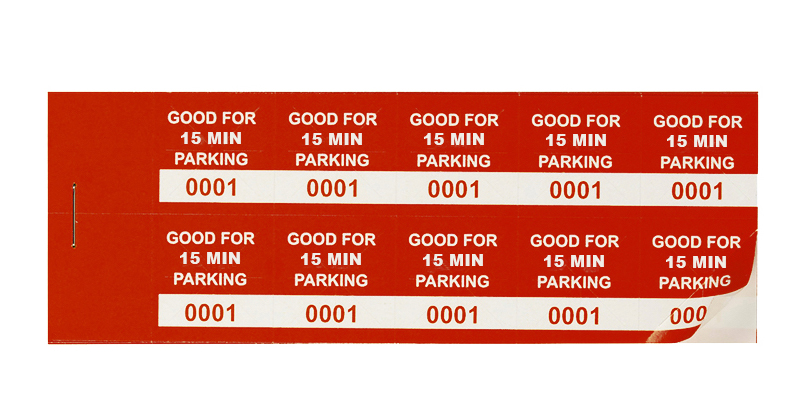 Red 15 Min Parking Validation Stickers (pacage of 1000)
