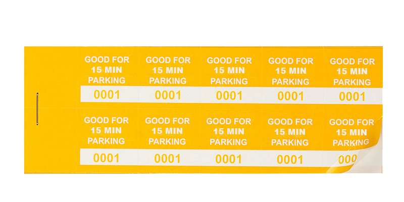 Yellow 15 Min Parking Validation Stickers (package of 1000)