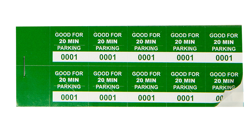 Green 20 Min Parking Validation Stickers (package of 1000)