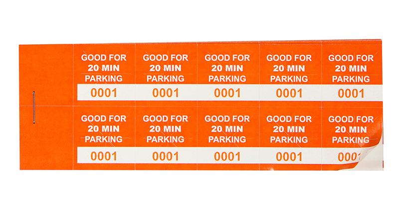 Orange 20 Min Parking Validation Stickers (package of 1000)