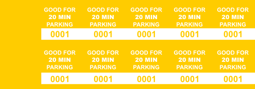 Yellow 20 Min Parking Validation Stickers (package of 1000)