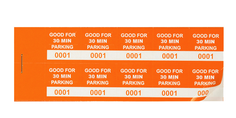 Orange 30 Min Parking Validation Stickers (package of 1000)