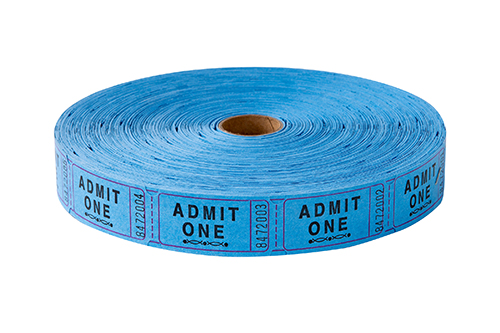 Single Roll Tickets Blue Admit One