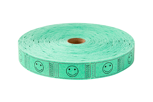 Single Roll Tickets Green Smiley Face