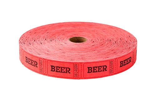 Single Roll Tickets Red Beer