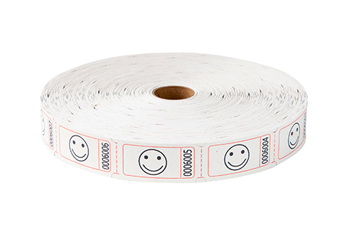 Single Roll Tickets White Smiley Face