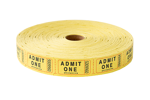 Single Roll Tickets Yellow Admit One