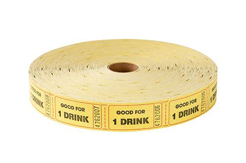 Single Roll Tickets Yellow One Drink