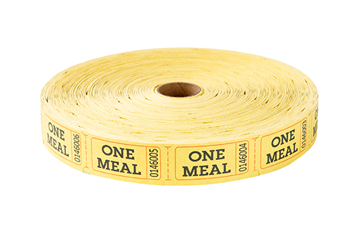 Single Roll Tickets Yellow One Meal