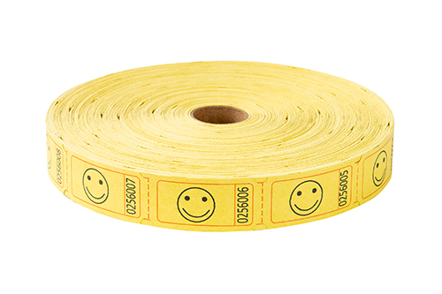 Single Roll Tickets Yellow Smiley Face